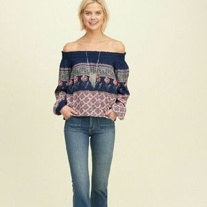 Off the Shoulder multi-pattern long sleeve blouse